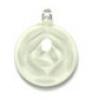 Glass Fancy Drop 29mm Pendant Rose Pattern (White)